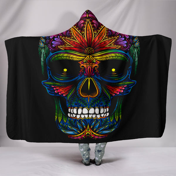 Psychadelic Skull Hooded Blanket - Exclusive Square