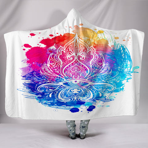 Deluxe Colorful Zen Hooded Blanket - Exclusive Square