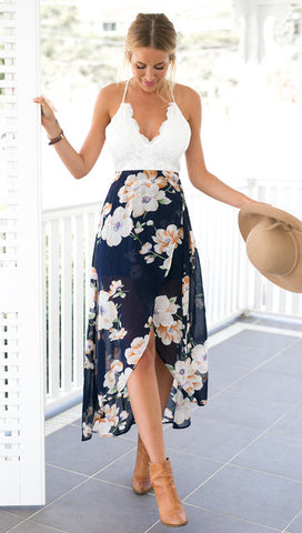 Deluxe Long Flower Summer Dress - Exclusive Square
