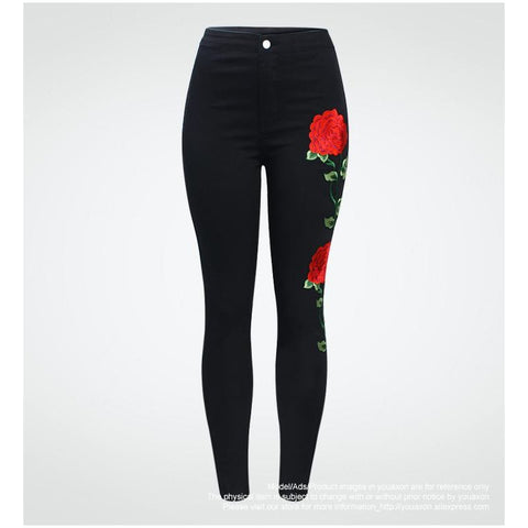 High Waist Floral Denim Jeans - Exclusive Square