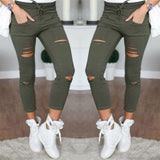 Women Casual Skinny Jeggings with Holes - Exclusive Square