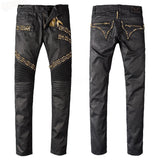 ItalianDevilish™ Embellished Ribbed Motorcycle Jeans (Black) - Exclusive Square