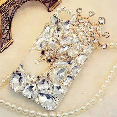 Bling Crystal Diamond Fox and Crown Soft Back iPhone Case - Exclusive Square