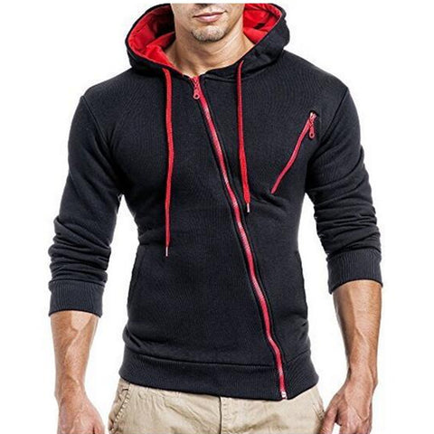 Men Hoodie with Oblique Zipper - Exclusive Square