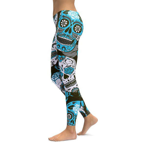 Light Blue Flower Skull Leggings - Exclusive Square
