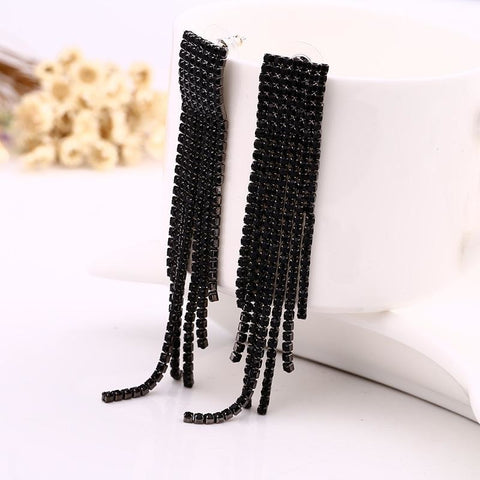 Black Full Rhinestone Luxury Tassel Earrings - Exclusive Square