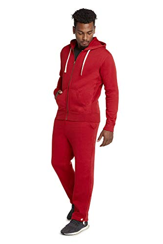9 Crowns Men's Mid-Weight Fleece Modern Fit Sweat Suit Hoodie Set-Red-4XL