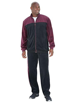 KingSize Men's Big & Tall Colorblock Velour Jogset, Black Deep Burgundy Big-2Xl