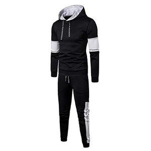 2PC Outfit Men Hoodie Patchwork Sweatshirt Top Pants Sets Sport Suit Tracksuit