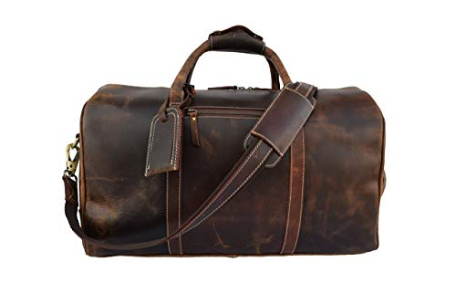 Leather Castle Genuine Vintage Men's Duffel Sports Gym, Travel, Carry-on Luggage Bag, Chocolate Brown