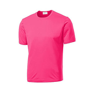 Clothe Co. Mens Short Sleeve Moisture Wicking Athletic T-Shirt, Neon Pink, 4XL