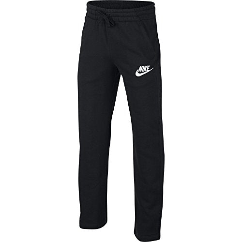 NIKE Sportswear Boys' Club Fleece Open Hem Pants, Black/White, Large