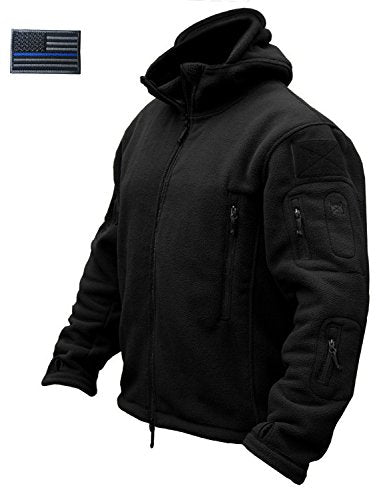 CRYSULLY Men's Fall Winter Coat Safari Jacket Fleece Hiking Travelling Fatigue Outdoors Snow Jacket Coat Black