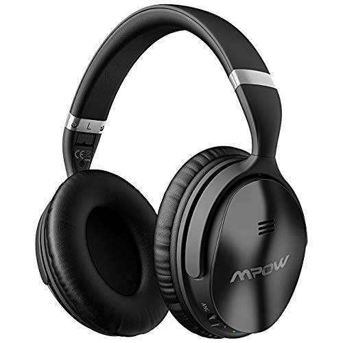 Mpow H5 Active Noise Cancelling Headphones, ANC Over Ear Wireless Bluetooth Headphones w/Mic, Dual 40 mm Drivers, Superior Deep Bass for PC/Cell Phone (25-30Hrs Playtime, CVC6.0 Noise-Cancelling Mic)