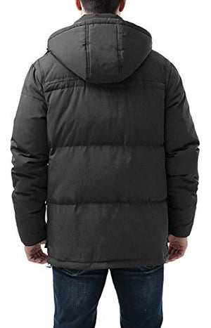 BGSD Men's Connor Hooded Waterproof Toggle Down Parka Coat - M Black - Pharaoh Athletics