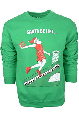 YoungLA Unisex Ugly Christmas Sweater Tacky Basketball Gym Gift Xmas Sweatshirt 523 Irish Green Santa Be Like Small