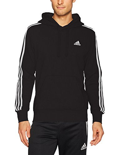 adidas Men's Essentials 3-Stripe Pullover Hoodie, Black/White, Medium