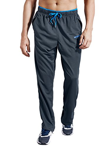 Zengvee Athletic Men's Open Bottom Light Weight Jersey Sweatpant with Zipper Pockets for Workout, Gym, Running, Training (Gray,M)