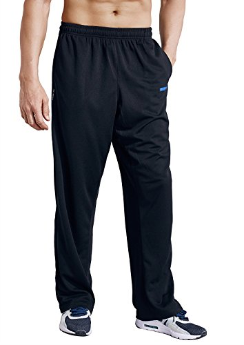 Zengvee Men's Sweatpant with Pockets Open Bottom Athletic Pants for Jogging, Workout, Gym, Running, Training(0317-Solid Black,M) - Pharaoh Athletics