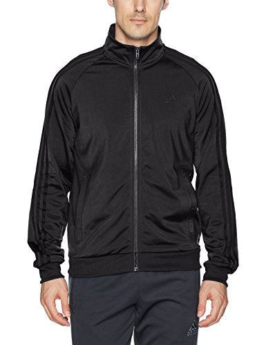 adidas Men's Essentials 3-Stripe Tricot Track Jacket, Black/Black, Medium