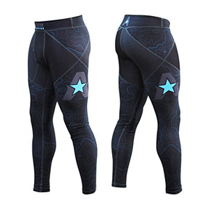 Anthem Athletics - 10+ Styles - HELO-X Grappling Spats Compression Pants Tights - BJJ, MMA, Muay Thai - Navy Topography - Large