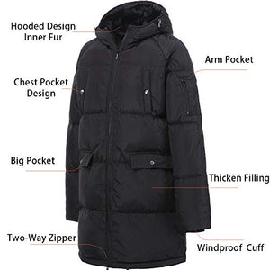 0d8800706 PANLTCY Men's Winter Snow Fur Quilted Hooded Long Ski Down Jacket Puffer  Coat (Large, Black Short)