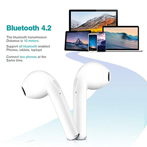 GLOUE Bluetooth Headphones Wireless Earbuds Mini Earphones in-Ear Stereo Sound Noise Cancelling 2 Built-in Mic Earphones Charging Case Compatible iPhone iPad Most Android
