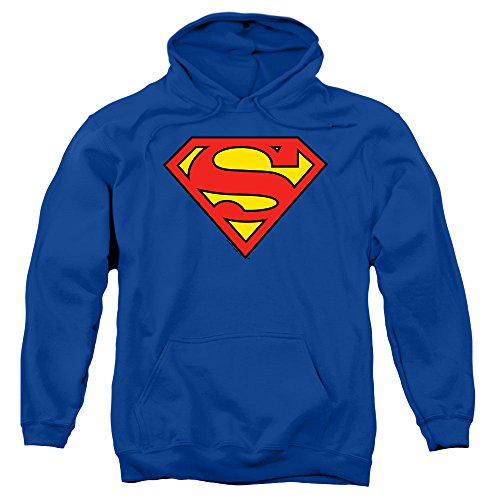 Popfunk Superman Classic Logo Pull-Over Hoodie Sweatshirt (Large)
