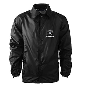 Dunbrooke Apparel NFL Oakland Raiders Men's Coaches Windbreaker Jacket, Medium, Black