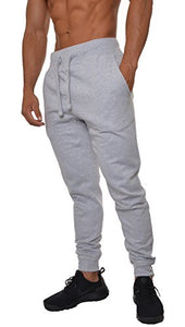 YoungLA Mens Slim Fit Joggers Fitness Activewear Sports Fleece Sweatpants For Gym Training Gray Medium