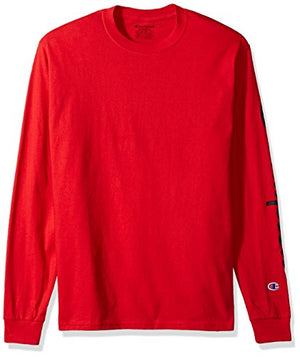 Champion Men's Classic Jersey Long Sleeve Graphic T-Shirt, Red, Sm