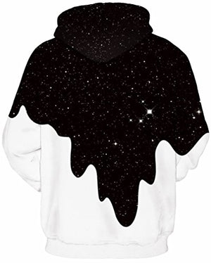 FLYCHEN Men's Digital Print Sweatshirts Hooded Top Galaxy Pattern Hoodie L/XL Fashion Black White
