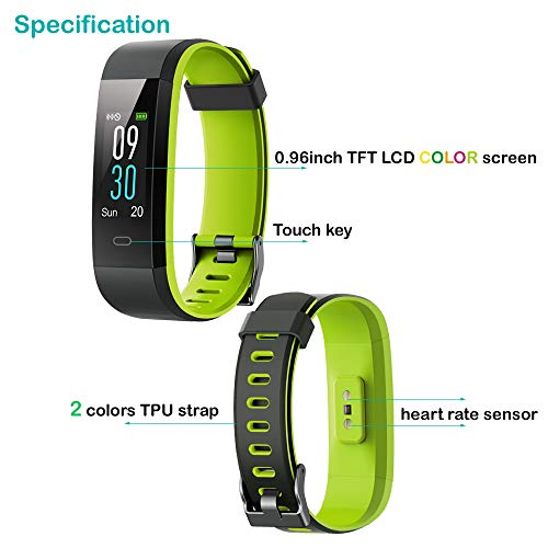 Willful Fitness Tracker with Heart Rate Monitor, Activity Tracker Pedometer with Step Counter Sleep Monitor 14 Sports Tracking,Color Screen IP68 Waterproof,Fitness Watch for Women Men Kids (Green)