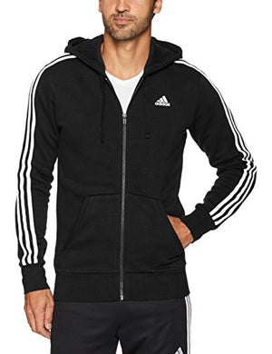adidas Men's Essentials 3-Stripe Full Zip Fleece Hoodie, Black/White, Large