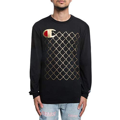 Champion LIFE Men's Heritage Long Sleeve Tee, Black/c Logo/Script Quilt, Small