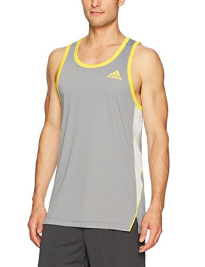 adidas Men's Basketball Foundation Tank Top, Grey Three/Equipment Yellow, XX-Large