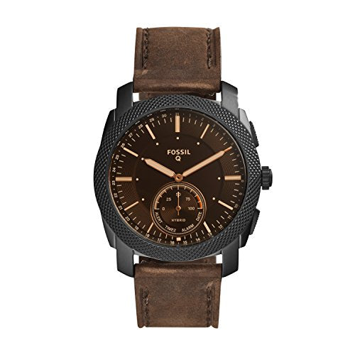 Fossil Q Men's Machine Stainless Steel Hybrid Smartwatch, Color: Black, Brown (Model: FTW1163)