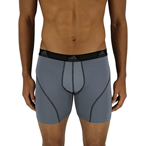 adidas Men's Sport Performance Climalite Boxer Briefs Underwear (2-Pack), Black/Thunder Grey, Medium/Waist Size 32-34