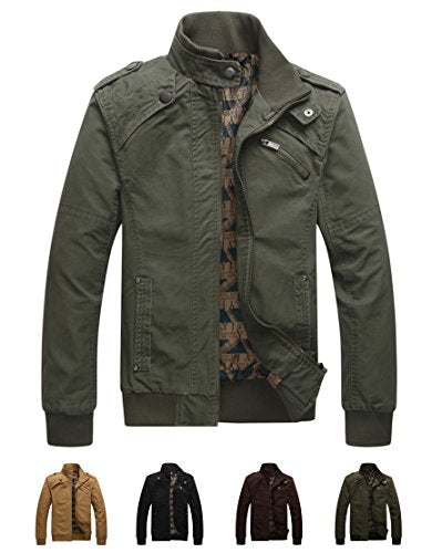 Earth Window Men's Cotton Casual Long Sleeve Stand Collar Military Windbreaker Jacket with Shoulder Straps