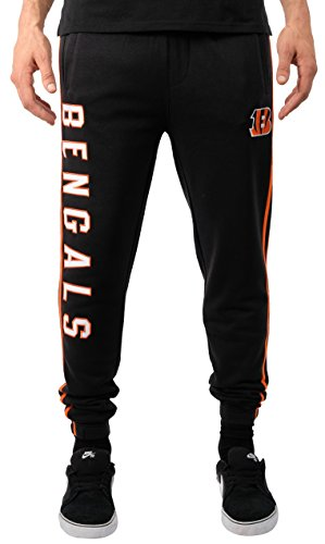 NFL Cincinnati Bengals Men's Jogger Pants Varsity Stripe Fleece Sweatpants, Large, Black - Pharaoh Athletics