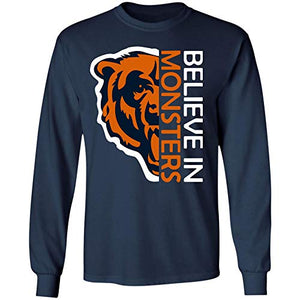 Believe in Monsters Chicago Bears Football Retro T Shirt Hoodie Long Sleeve for Men Women (Long Sleeve T-Shirt;Navy;2XL)