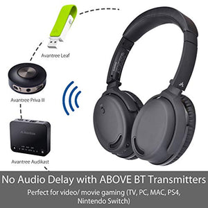 Ideal for Phone Fast Stream Low Latency Comfortable /& Foldable Stereo ANC Over Ear Headset Avantree ANC032 Active Noise Cancelling Bluetooth Headphones with Mic PC /& TV Wireless Wired 2-in-1