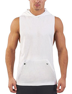 Daupanzees Men's Workout Hooded Tank Tops Bodybuilding Fitness Vest Muscle T Shirt Sleeveless Gym Hoodies (White XL)