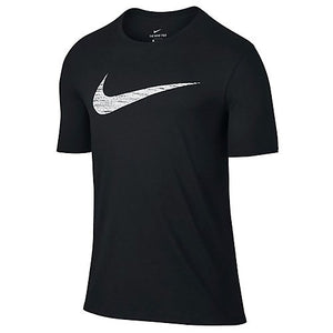 NIKE Men's Dry Swoosh Heather Tee, Black, Medium