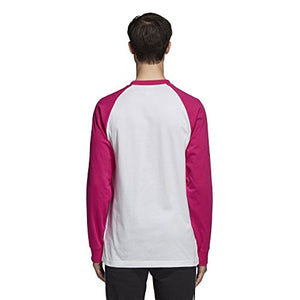 adidas Originals Men's 3-Stripes Long Sleeve Tee, Shock Pink, S