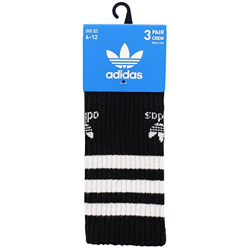 adidas Men's Originals Crew Socks (3-Pack), Black/White/Heather Grey, Large