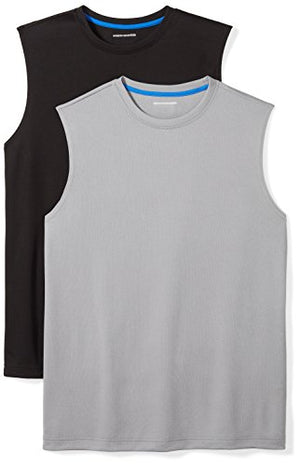 Amazon Essentials Men's 2-Pack Performance Muscle T-Shirts, Black/Medium Grey, Large