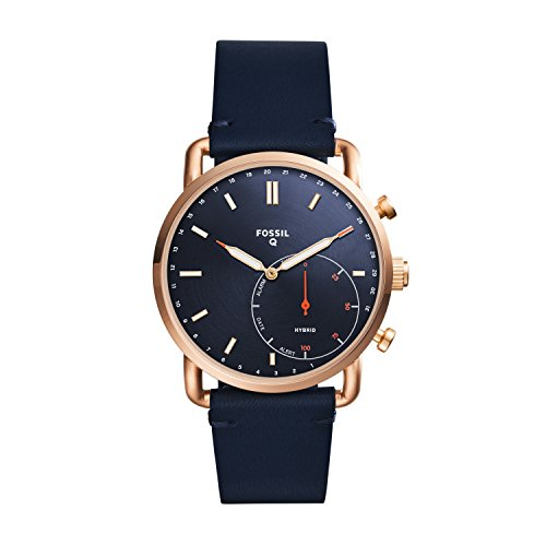 Fossil Q Men's Commuter Stainless Steel and Leather Hybrid Smartwatch, Color: Rose Gold-Tone, Blue (Model: FTW1154)