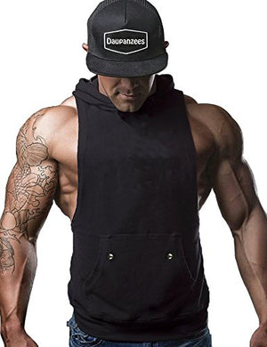 Daupanzees Men's Workout Hooded Tank Tops Bodybuilding Fitness Hoodies Vest Muscle T Shirt (Black S)