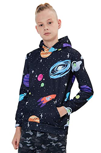 Uideazone Gym Sports Hoodies for Ladies Men Funny Graphic Space Galaxy Pullover Coat Casual Hooded Sweatshirt X-Large